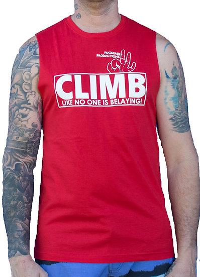 CLIMB MUSCLE TEE - RED