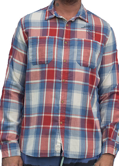 COLLARED LONG SLEEVE - RED CHECKERED