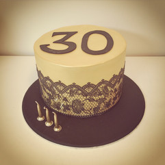 Gold with Black Lace Cake