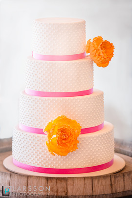4 Tiers, Dots and Large Flowers