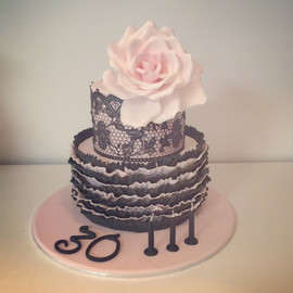 Lace with Ruffles and Rose Cake