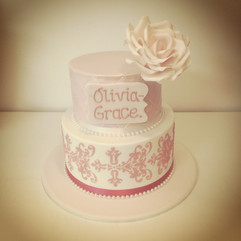 Shimmer, Stencil, Name and Flower Cake