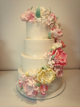 4 Tier Wedding Cake with Hand Made Icing