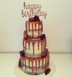 Caramel Drip on Naked Cake