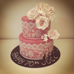 Lace with Flowers Cake