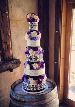 Wedding Cake - 5 Tier Quilted & Stencil