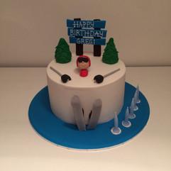 Skiier in Snow Cake
