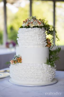 Wedding Cake - Ruffles and Fresh Flowers