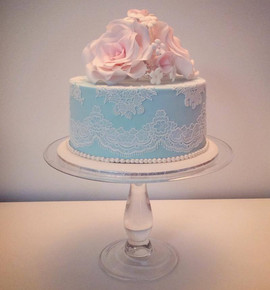 Wedding Cake with Blue with White lace