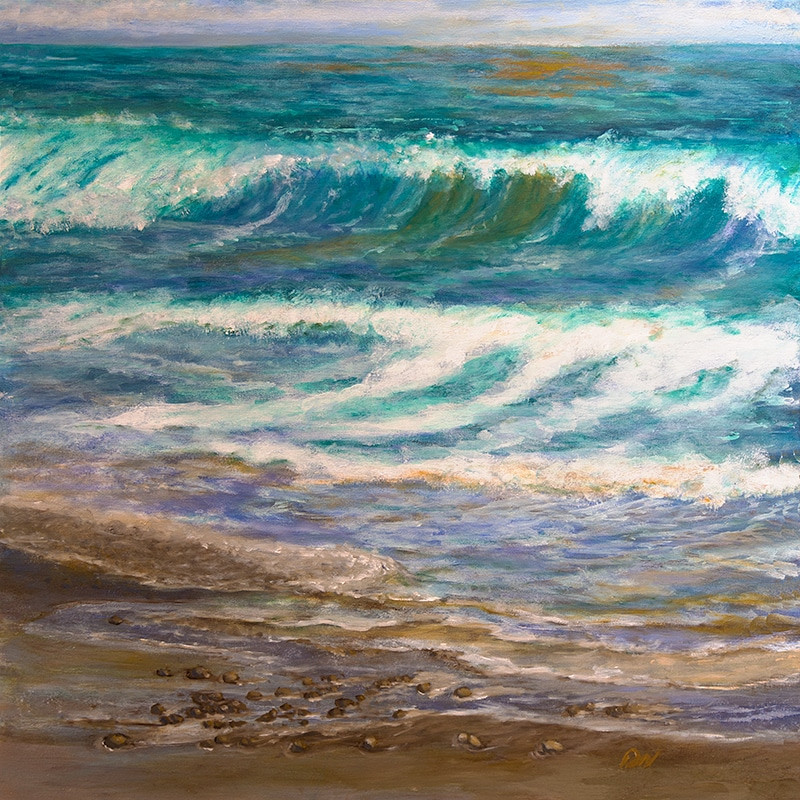 Serenity Symphony original oil painting - Serene waves at Encinitas Moonlight Beach, San Diego, California, by artist Darla Nyren, Breeze Hill Art, www.breezehillart.com