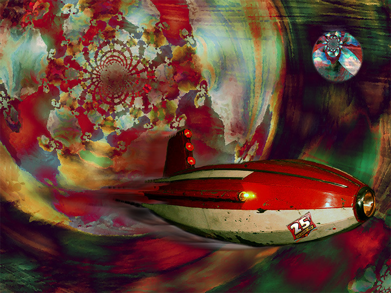Come fly with me - original digital art composite - vintage amusement ride jet in whimsical sci-fi fantasy world, San Diego, California, by artist Darla Nyren, Breeze Hill Art, www.breezehillart.com