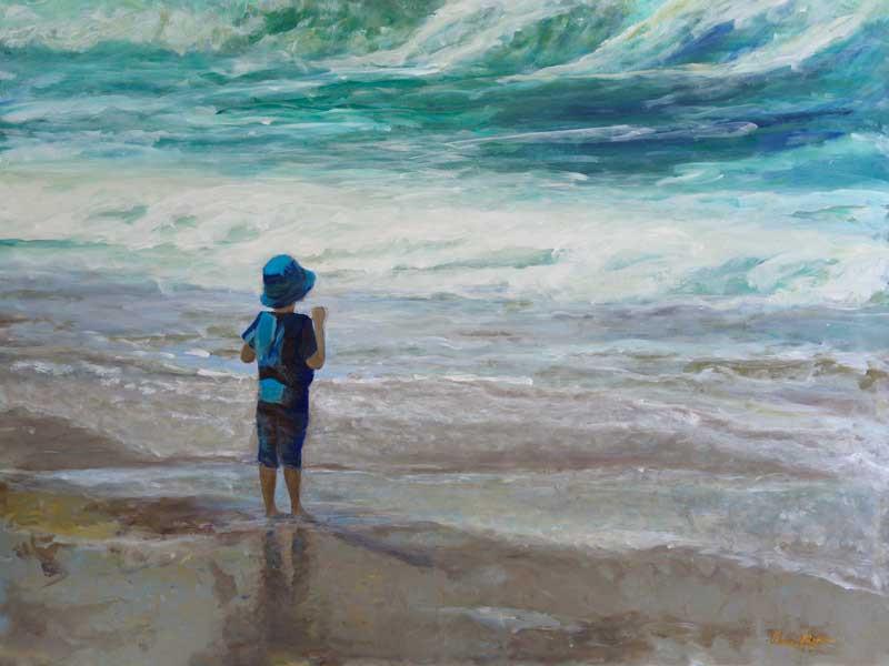 Little man, Big waves - original acrylic art painting - little boy at beach in Encinitas Moonlight Beach, San Diego, California, by artist Darla Nyren, Breeze Hill Art, www.breezehillart.com