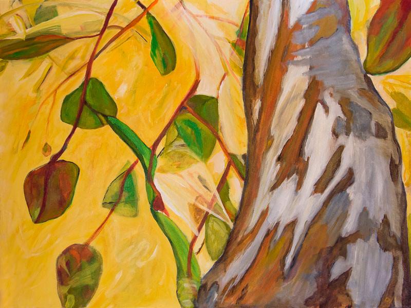 Up - original acrylic art painting - eucalyptus trees and leaves blowing in breeze, San Diego, California, by artist Darla Nyren, Breeze Hill Art, www.breezehillart.com