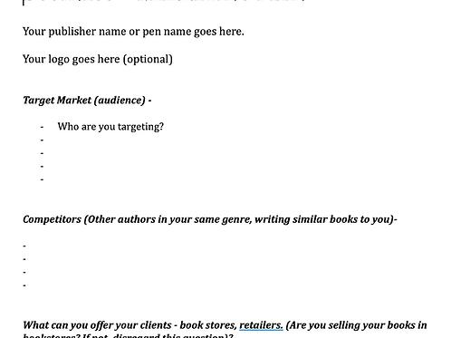 Author Marketing Plan