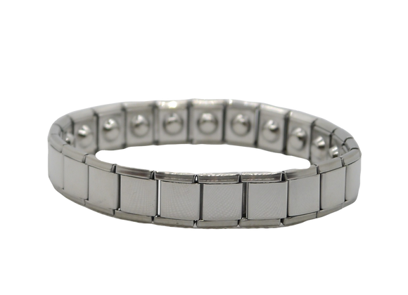 Men's Stainless Steel Expanding Bracelets Wide: Silver