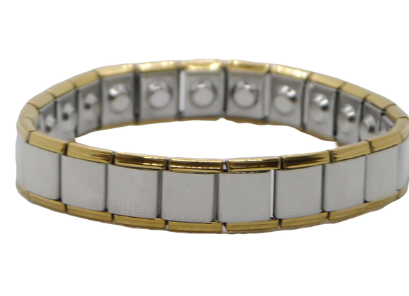 Men's Stainless Steel Expanding Bracelets Wide: Gold/Silver