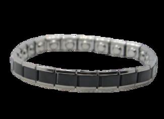 Ladies Stainless Steel Expanding Bracelets:  Silver/Black