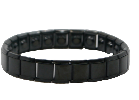 Men's Stainless Steel Expanding Bracelets Wide: Black