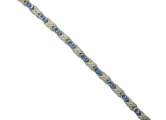 Ladies Alloy Bracelets: Silver Plated Saphire Gem