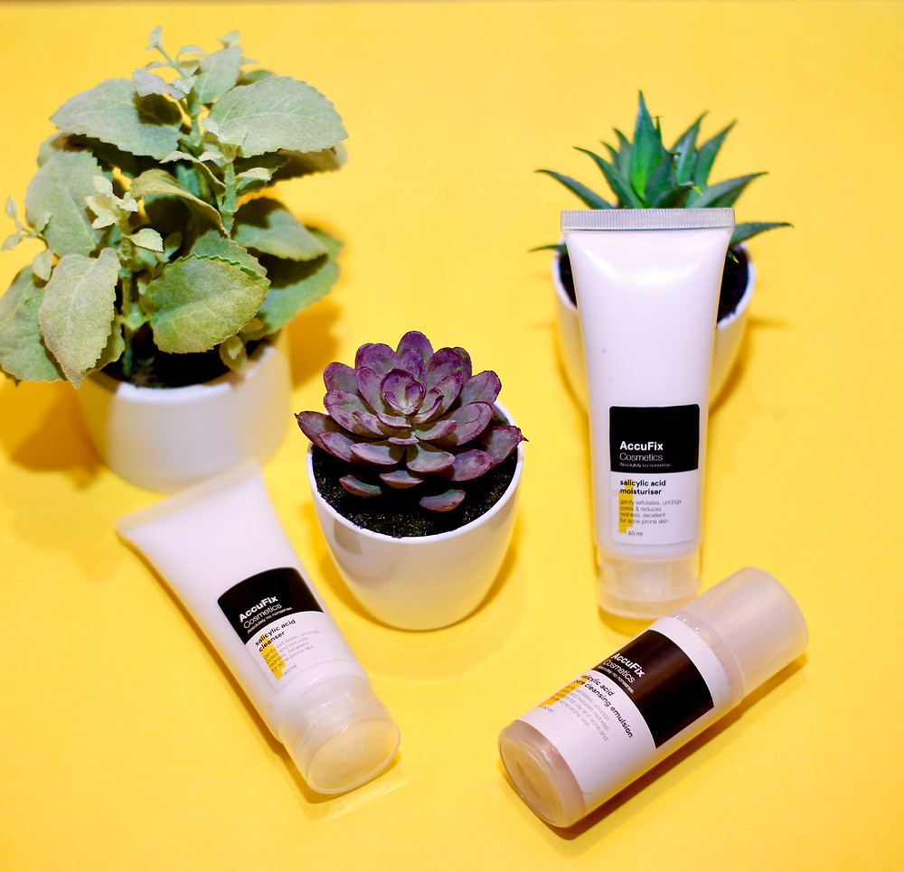 The AccuFix Cosmetics Salicylic Acid range alongside potted plants. The following products are shown: AccuFix Salicylic Acid Cleanser, AccuFix Salicylic Acid Moisturiser and AccuFix Salicylic Acid Pore Cleansing Emulsion