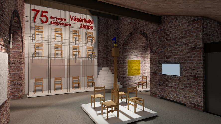 Vásárhelyi János kiállításának terve a Budapest Szent István Bazilika Lovagtermében Belsőépítész tervező: Jakab Csaba, munkatárs, látványterv: Tompa Tünde
