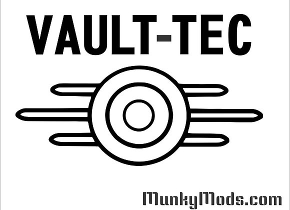 Fallout Vault-Tec Logo w/Text Decal / Applique - Large