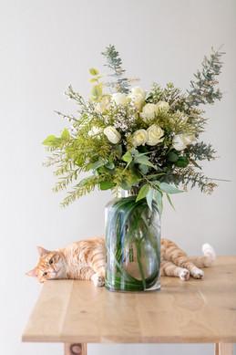 Bouquet de rose dans un  vase transparent