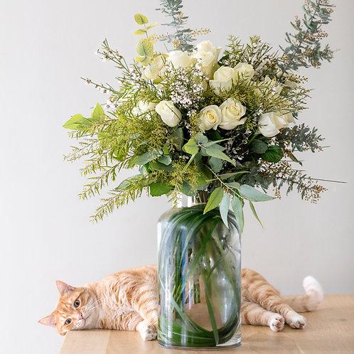 Bouquet de roses blanches pour la Saint-Valentin