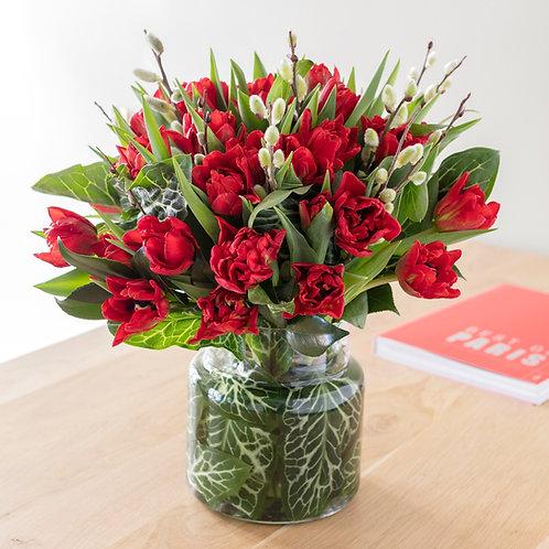 Bouquet de tulipes rouges pour la Saint-Valentin