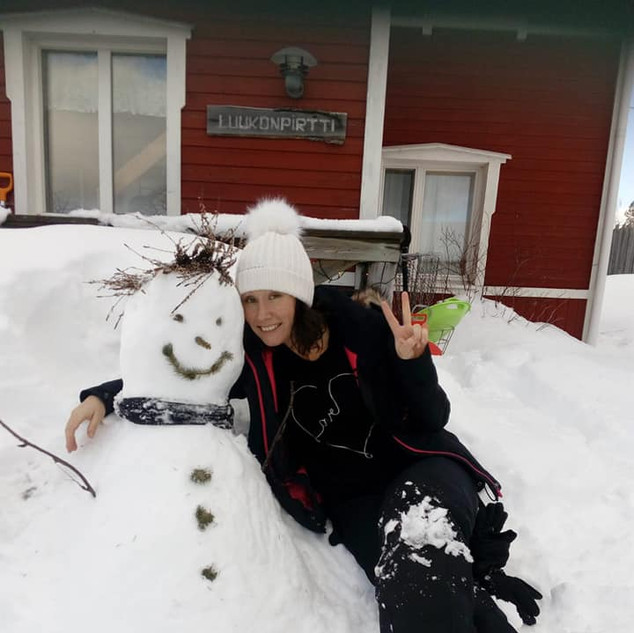 with our resident snowman