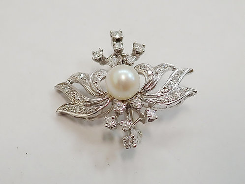 14CT PEARL & DIAMOND BROOCH