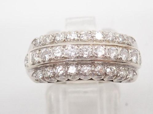 14CT W/.G 3 ROW DIAMOND RING