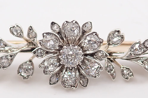 14CT & SILVER BAR BROOCH WITH DIAMONDS & PEARLS
