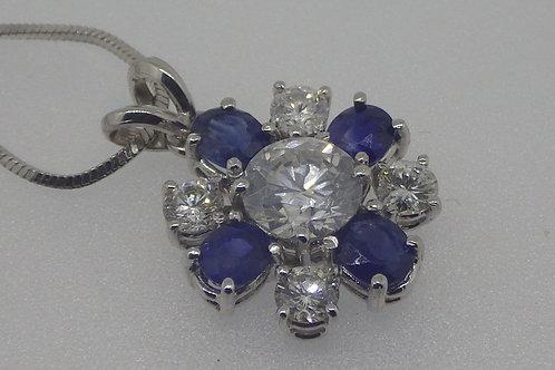 18CT DIAMOND & SAPPHIRE PENDANT