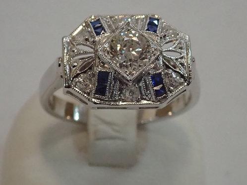 14CT DECO DIAMOND & SAPPHIRE RING