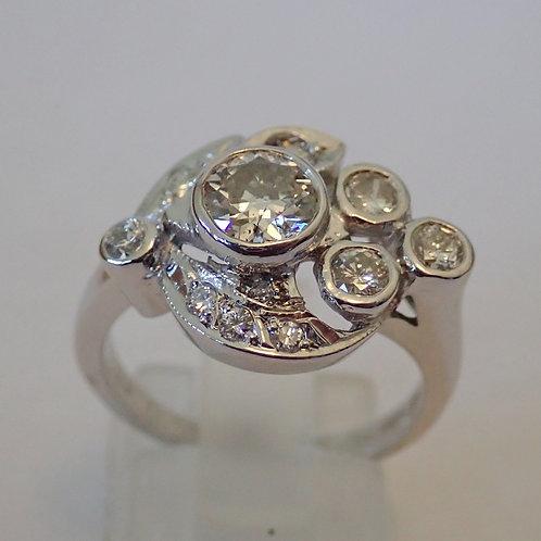 14CT DIAMOND FLORAL SPRAYRING