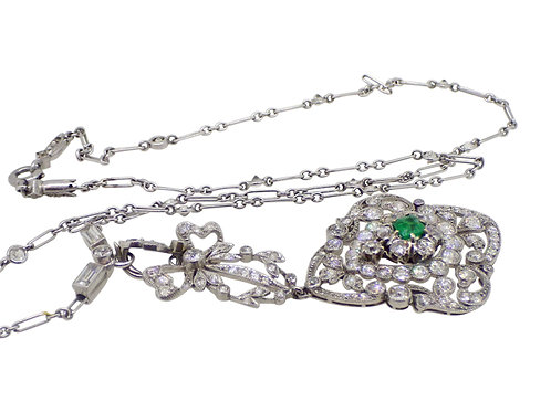 18CT DIAMOND & EMERALD NECKLACE