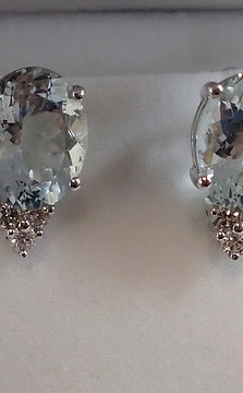 14CT W/G AQUAMARINE & DIAMOND EARRINGS
