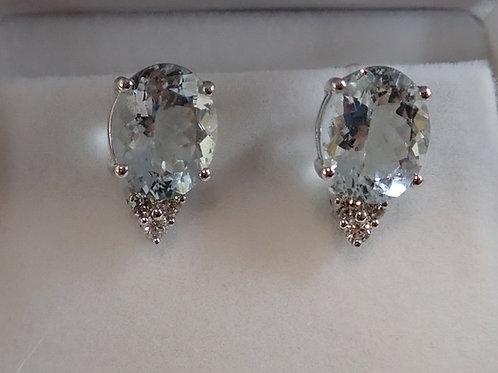 14CT W/G AQUAMARINE & DIAMOND EARRINGS