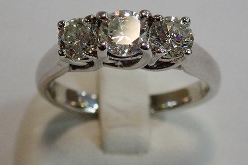 14CT W/G 3 STONE DIAMOND RING
