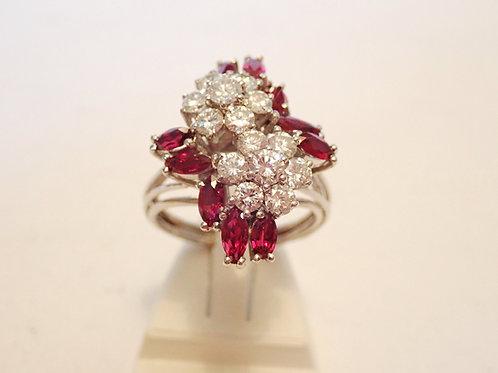 18CT W/G RUBY & DIAMOND RING