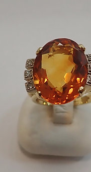 18CT Y/G CITRINE & DIAMOND RING