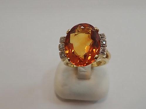 18CT Y/G CITRINE & DIAMOND RING