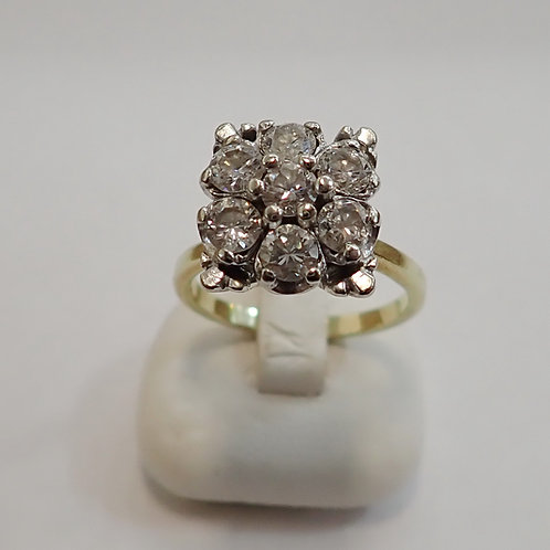 14CT 7 STONE DIAMOND RING