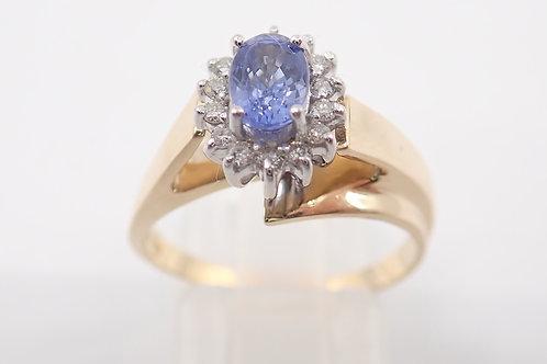 14CT CEYLON SAPPHIRE & DIAMOND RING