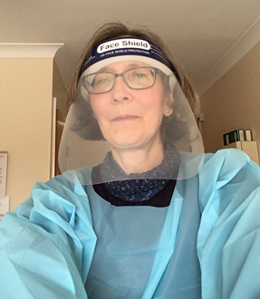 Dressed 'like an astronaut' for a care home visit