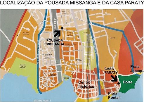 Localização da Casa Paraty e da Pousada Missanga