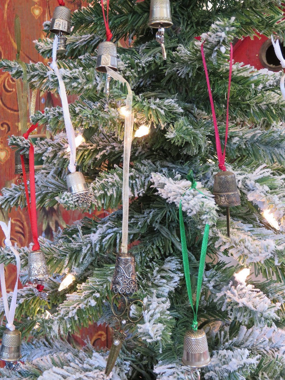 Thimble Ornaments on Tree