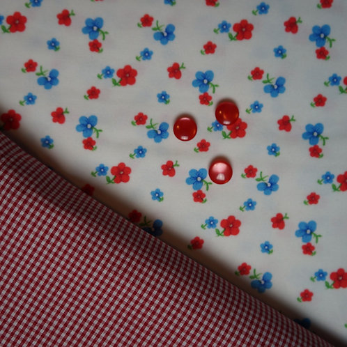 Red Posies July Flowers Gathered Skirt Kit