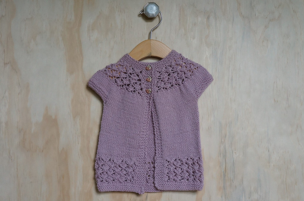 In Threes Baby Sweater with Lace